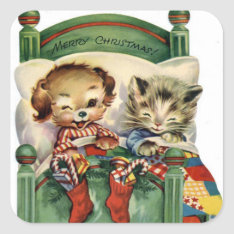 Vintage Christmas Holiday Pet Sticker at Zazzle