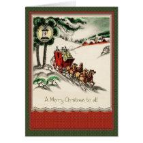 Vintage Christmas Holiday Scene Greeting Card