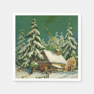Vintage Christmas Holiday scene paper napkins