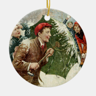Vintage Christmas holiday snowball fight ornament