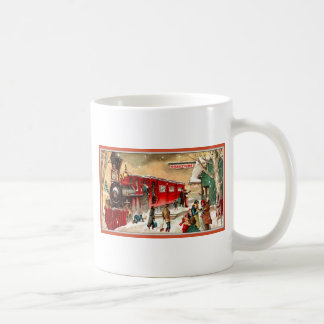 Vintage Christmas Holiday Train Station Coffee Mug