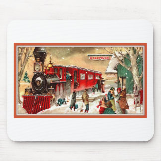 Vintage Christmas Holiday Train Station Mouse Pad