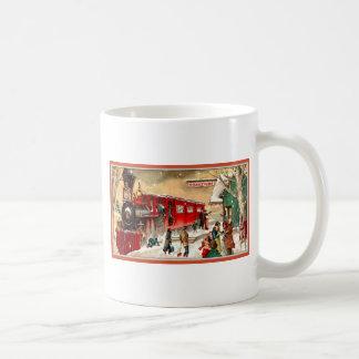 Vintage Christmas Holiday Train Station Mugs
