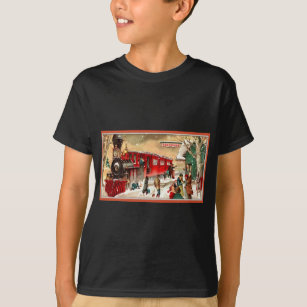 vintage christmas holiday train station t shirt