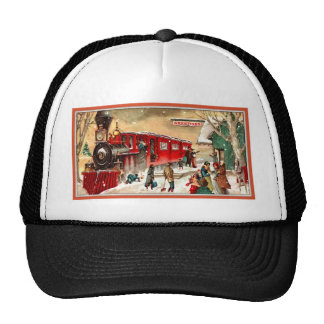 Vintage Christmas Holiday Train Station Trucker Hat