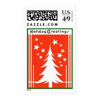 Vintage Christmas Holiday Tree Postage Stamp