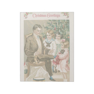 Vintage Christmas Holidays Card Father & Kids Notepad