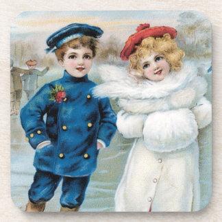 Vintage Christmas Holidays Nostalgia Children Drink Coaster