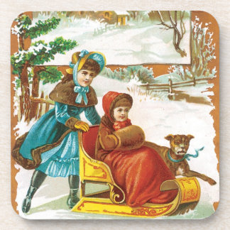 Vintage Christmas Holidays Nostalgia Old Fashioned Beverage Coaster