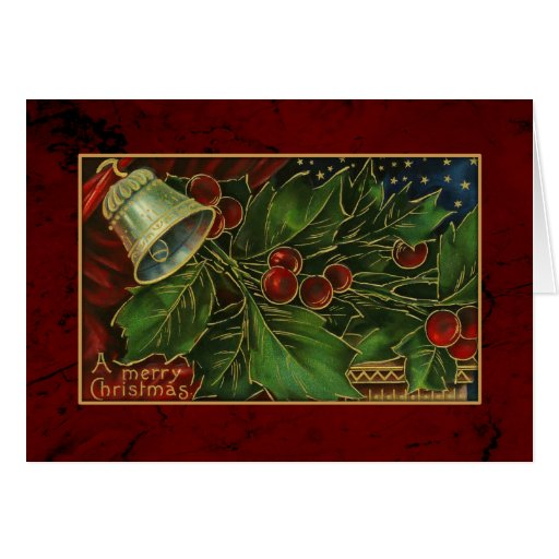 Vintage Christmas Holly and Bell Greeting Card