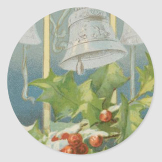 Vintage Christmas Holly and Bells Round Sticker