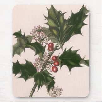 Vintage Christmas, Holly and Berries Mouse Pad