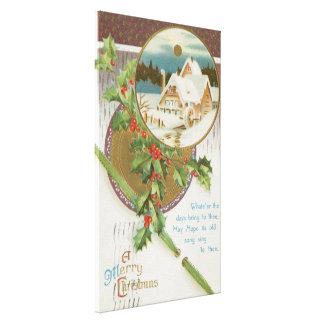 Vintage Christmas Holly and Farm Canvas Print