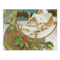 Vintage Christmas Holly and Farm Postcard
