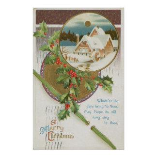 Vintage Christmas Holly and Farm Poster