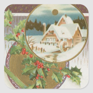 Vintage Christmas Holly and Farm Stickers