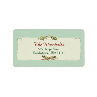 Vintage Christmas Holly and Ribbon Label