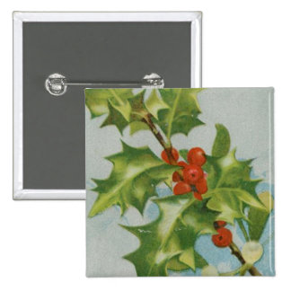 Vintage Christmas Holly Artwork Button