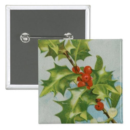 Vintage Christmas Holly Artwork Pin