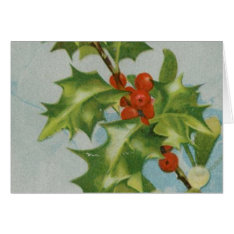 Vintage Christmas Holly Artwork Card at Zazzle
