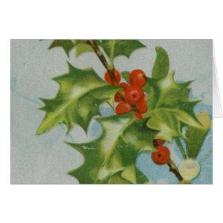 Vintage Christmas Holly Artwork Card