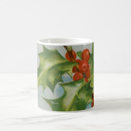 Vintage Christmas Holly Artwork Coffee Mug