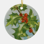 Vintage Christmas Holly Artwork Double-Sided Ceramic Round Christmas Ornament