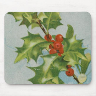 Vintage Christmas Holly Artwork Mouse Pad