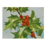 Vintage Christmas Holly Artwork Post Card