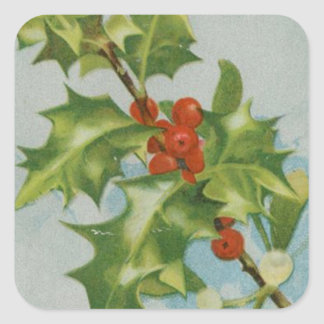 Vintage Christmas Holly Artwork Square Stickers