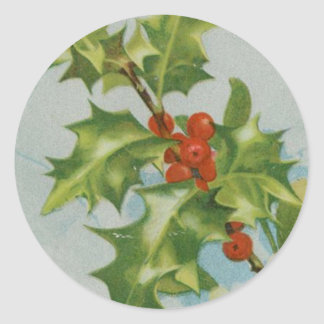 Vintage Christmas Holly Artwork Round Stickers