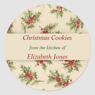 Vintage Christmas, Holly Berries, Custom Classic Round Sticker