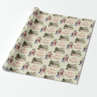 Vintage Christmas Holly Berries Kid Beige Custom Wrapping Paper