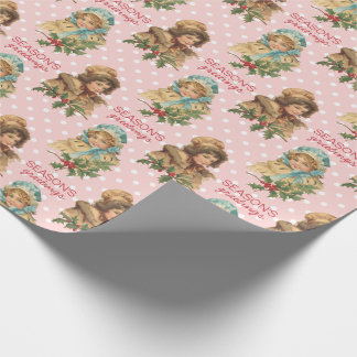 Vintage Christmas Holly Cute Girls Pink Polka Dots Wrapping Paper
