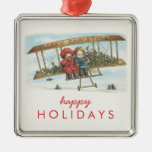 Vintage Christmas Holly Cute Kids Airplane Holiday Square Metal Christmas Ornament