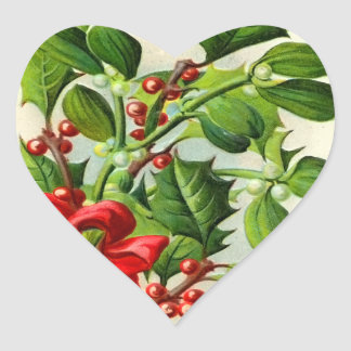 Vintage Christmas Holly Heart Stickers