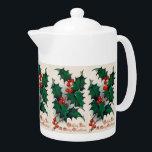 "Vintage Christmas Holly Holiday Teapot<br><div class=""desc"">design by www.etsy.com/Shop/VanityFlairDesigns</div>"
