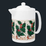 "Vintage Christmas Holly Holiday Teapot<br><div class=""desc"">design by www.etsy.com/Shop/VanityFlairDesigns</div>"