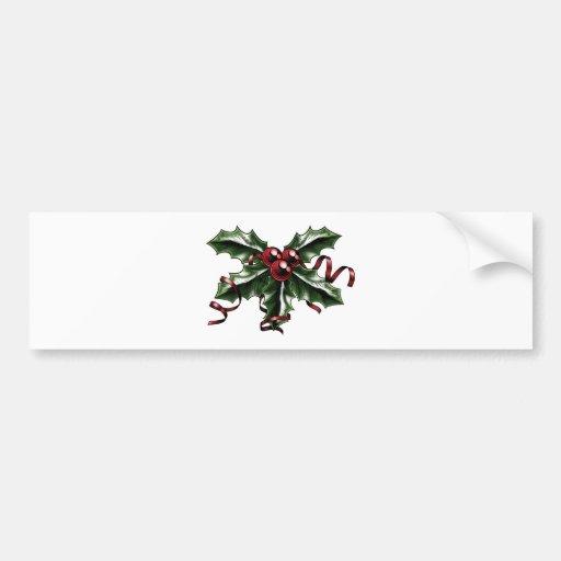 Vintage Christmas Holly Illustration Bumper Sticker