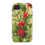 Vintage Christmas Holly iPhone 4/4S Covers