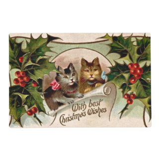 "Vintage Christmas ""Holly Kittens"" Placemat"