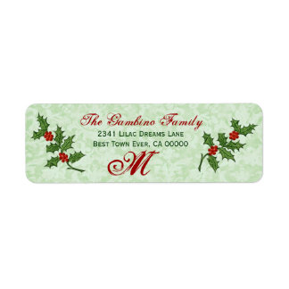 Vintage Christmas Holly Monogram Label