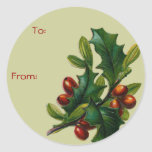 Vintage Christmas Holly Name Tags Sticker