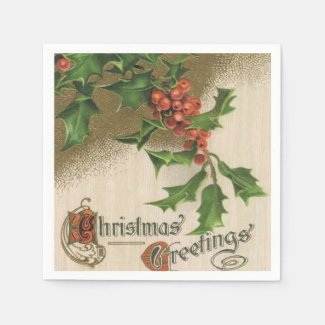 Vintage Christmas Holly paper napkins