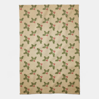 Vintage Christmas Holly Pattern Hand Towel