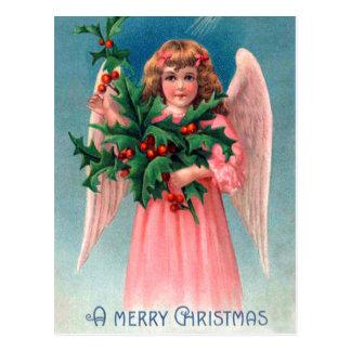 Vintage Christmas holly pink Angel postcard