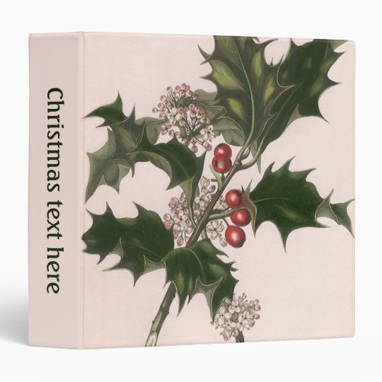 Vintage Christmas, Holly Plant with Red Berries 3 Ring Binder