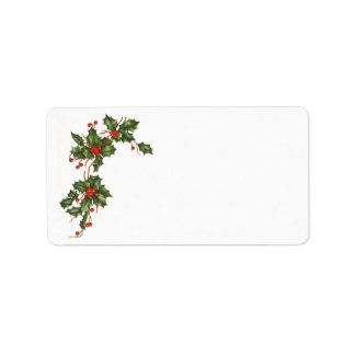Vintage Christmas, Holly Plant with Red Berries Address Label