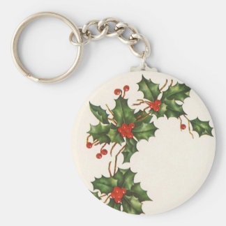 Vintage Christmas, Holly Plant with Red Berries Basic Round Button Keychain