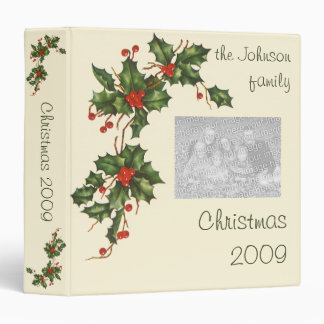 Vintage Christmas, Holly Plant with Red Berries Binder